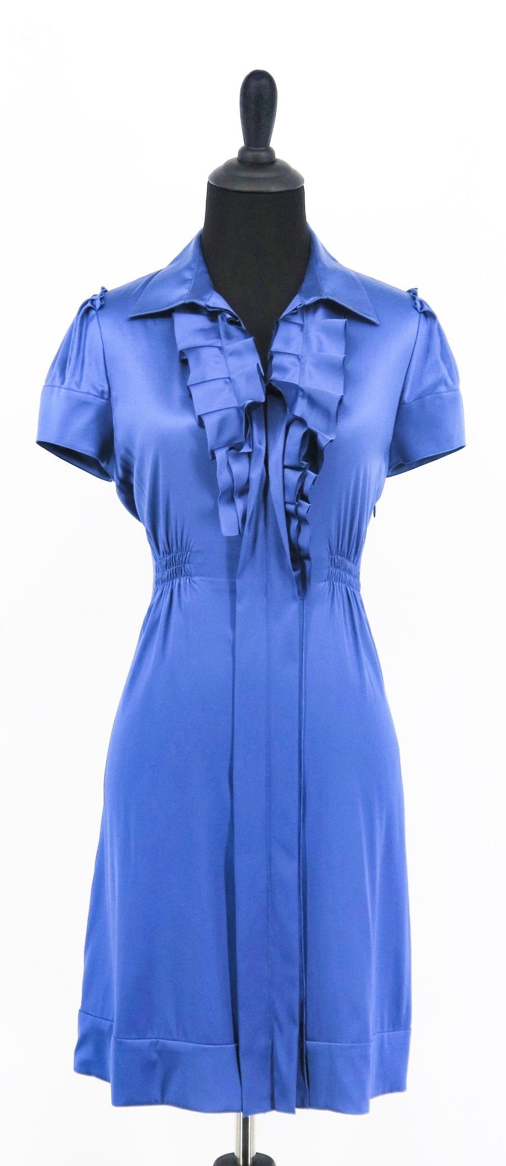 BCBG Maxazria Silk Pleatted Ruffle Shirt Dress