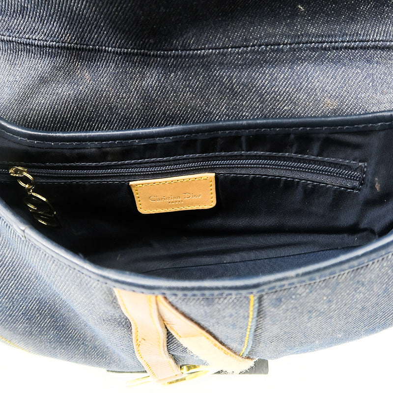 Christian Dior Dark Wash Demin Saddle Bag