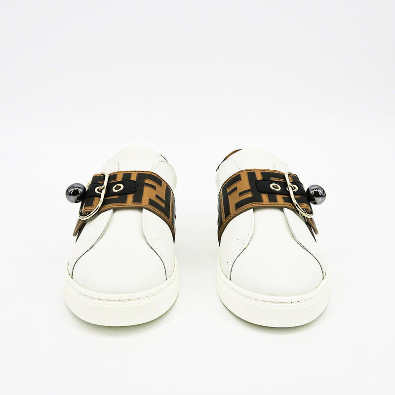Fendi Pearland Leather Sneakers with FF Strap - Sachy's Closet