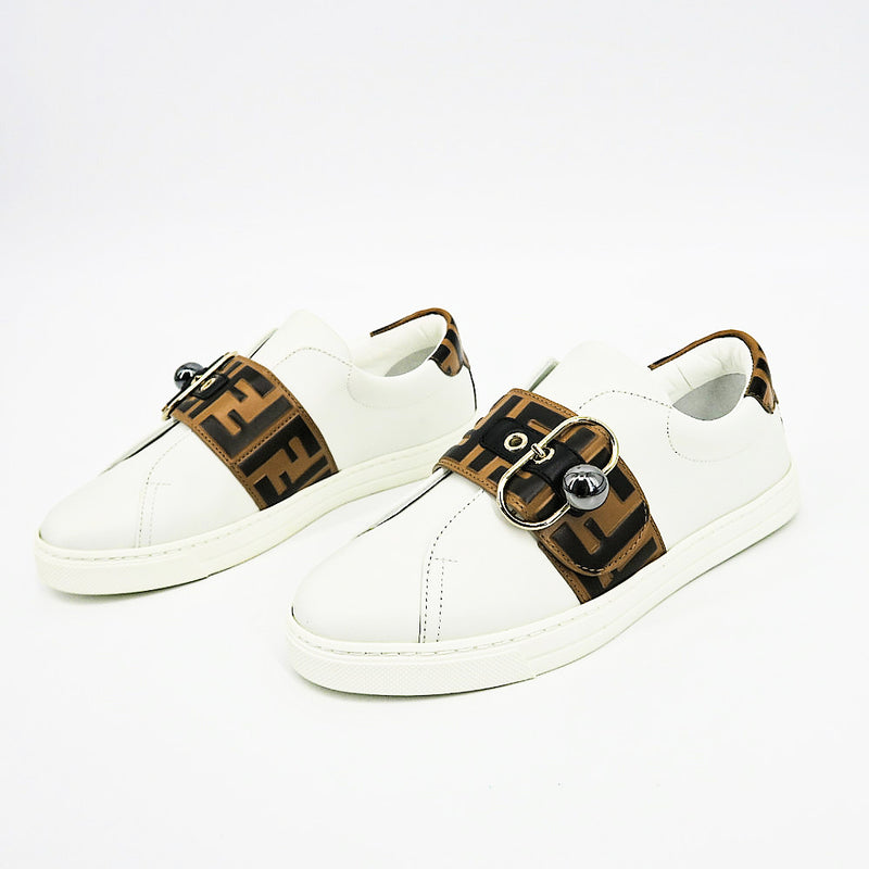 Fendi Pearland Leather Sneakers with FF Strap