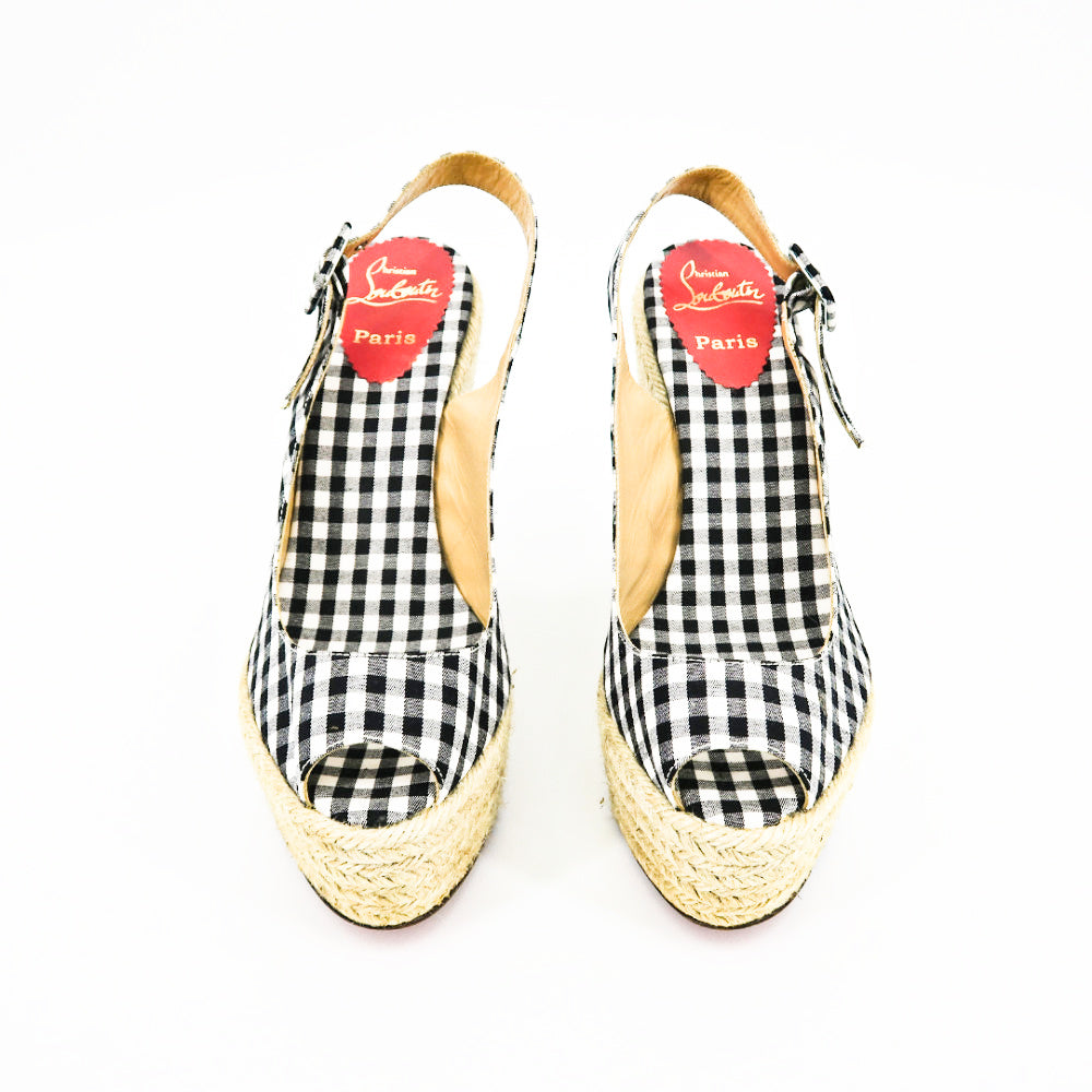 Christian Louboutin Gingham Espadrille Wedges - Sachy's Closet