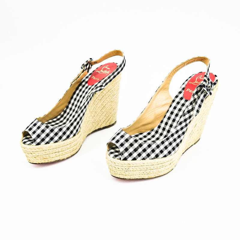 Christian Louboutin Gingham Espadrille Wedges