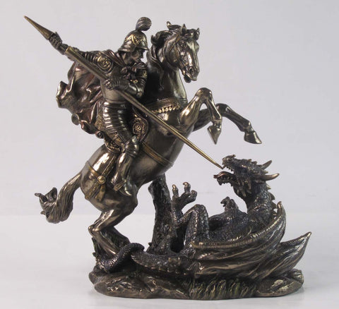 FIGURA ST GEORGE ON HORSE SLAYING DRAGON MBZ+COLOR (Altura 22 cm)
