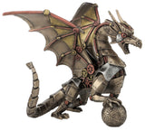 FIGURA STEAMPUNK DRAGON SITTING AND HOLDING SPHERE