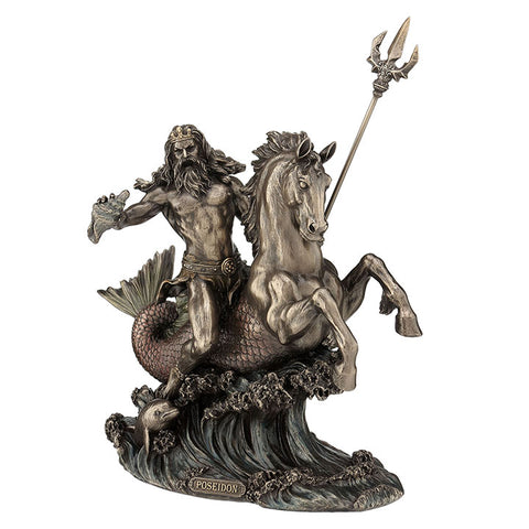 FIGURA POSEIDON WITH TRIDENT RIDING A HIPPOCAMPUS