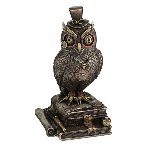 FIGURA STEAMPUNK OWL WITH TOP HAT STANDING ON TOP OF BOOKS