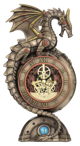 FIGURA STEAMPUNK DRAGON PERCHING ON CLOCK