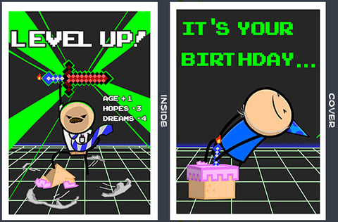 Cyanide & Happiness Birthday Level Up Greeting Card