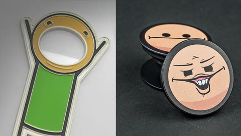 Left: The Bottle Opener Right: Both versions of the pop up face