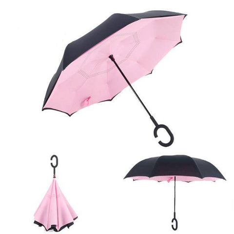 Our General Store Lifehack Pink Upside-Down Regenschirm | Extrem Wind-Resistent!