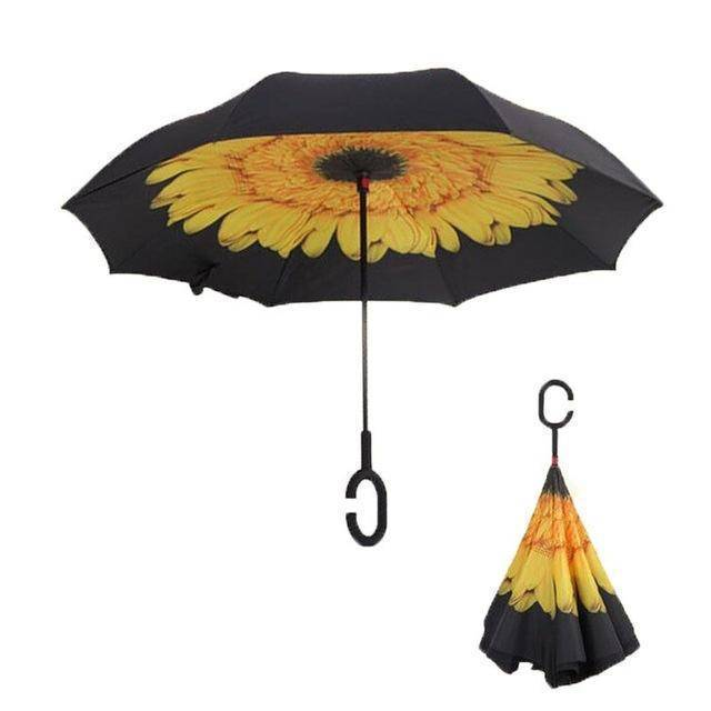 Our General Store Lifehack Sonnenblume Upside-Down Regenschirm | Extrem Wind-Resistent!