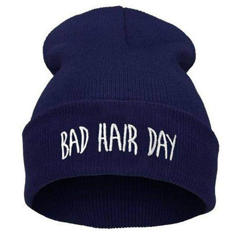 Image of WeSellTrends.com Kleidung Dunkelblau Bad Hair Day Beanie