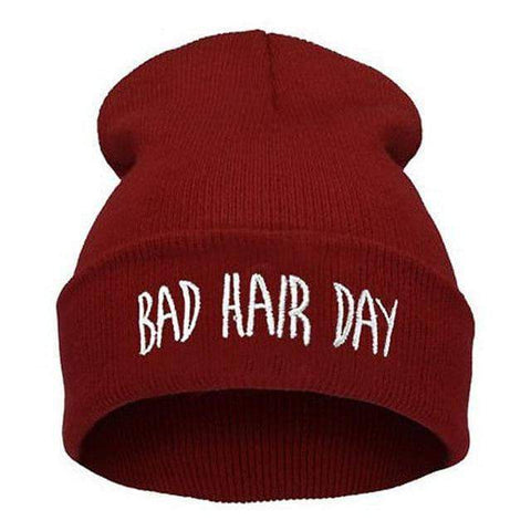 Image of WeSellTrends.com Kleidung Rot Bad Hair Day Beanie
