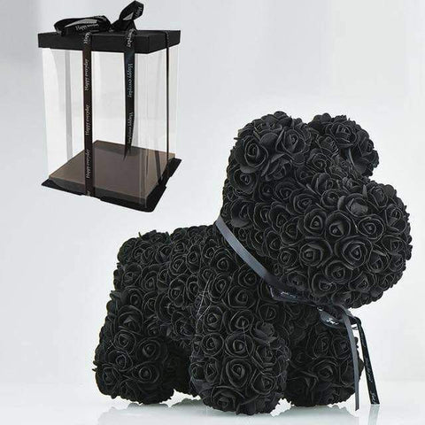 Image of WeSellTrends.com Liebe & Pärchen 42cm black dog box Rose Hund | Riesiger RosenHund