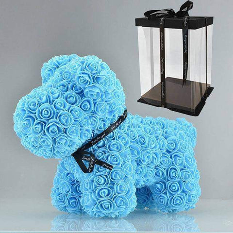 Image of WeSellTrends.com Liebe & Pärchen 42cm blue dog box Rose Hund | Riesiger RosenHund