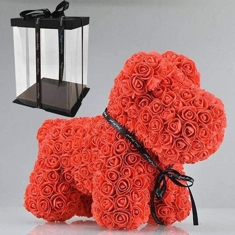Image of WeSellTrends.com Liebe & Pärchen 42cm red dog box Rose Hund | Riesiger RosenHund