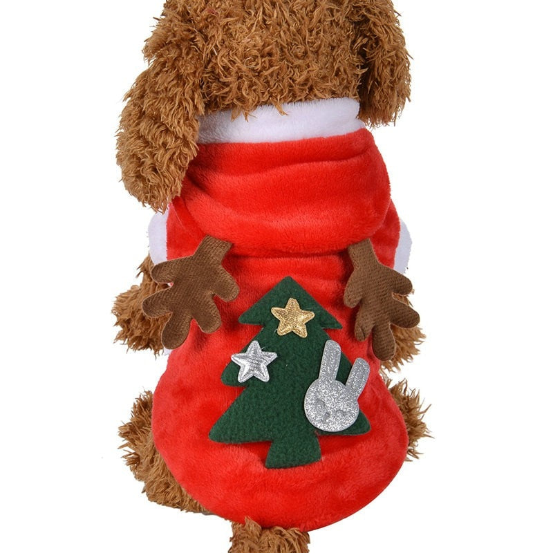 load image into gallery viewer santa costume pet dog christmas clothes cute puppy outfit for