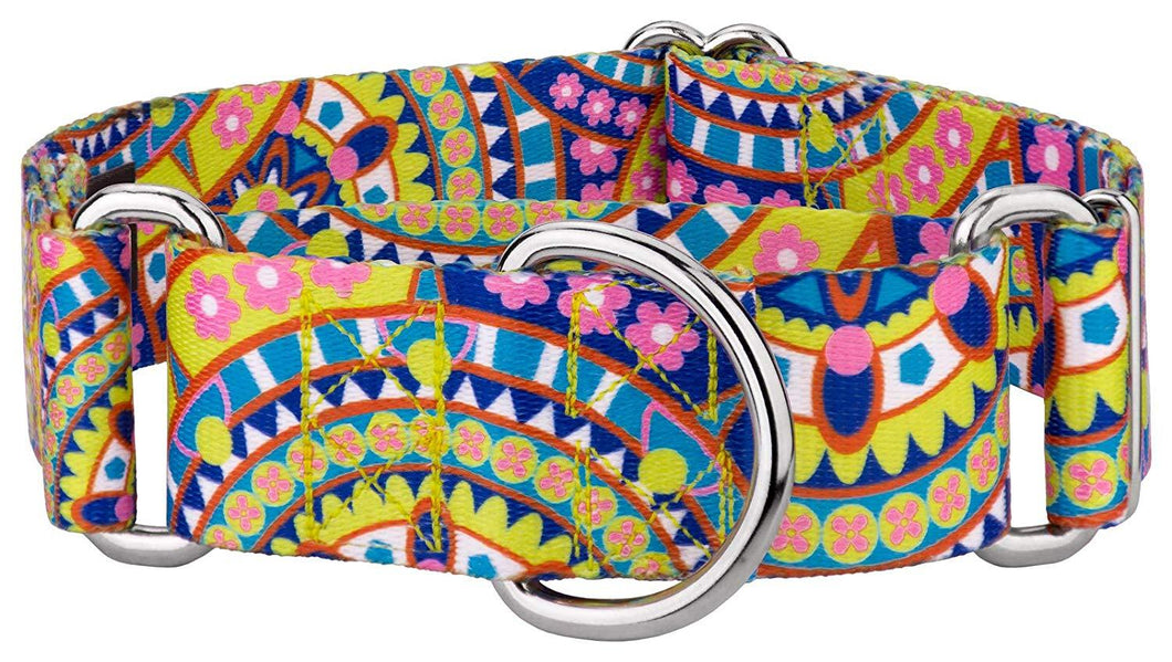 1.5 Inch Yellow Boho Mandala Martingale Collar for Greyhounds