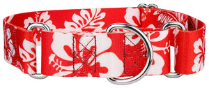 1.5 Inch Red Hawaiian Martingale Collar for Greyhounds