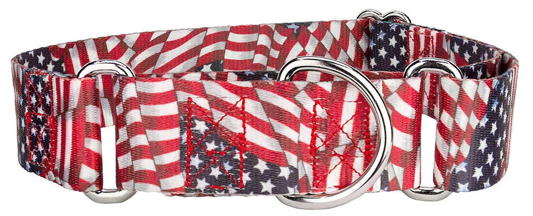 1.5 Inch Patriotic Tribute Martingale Collar for Greyhounds