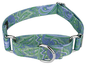 1.5 Inch Green Paisley Martingale Collar for Greyhounds