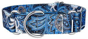 1.5 Inch Blue Paisley Martingale Collar for Greyhounds