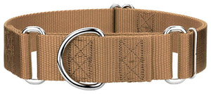 1.5 Inch Heavyduty Nylon Martingale Collar for Greyhounds - Coyote Tan