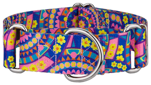 1.5 Inch Blue Boho Mandala Martingale Collar for Greyhounds