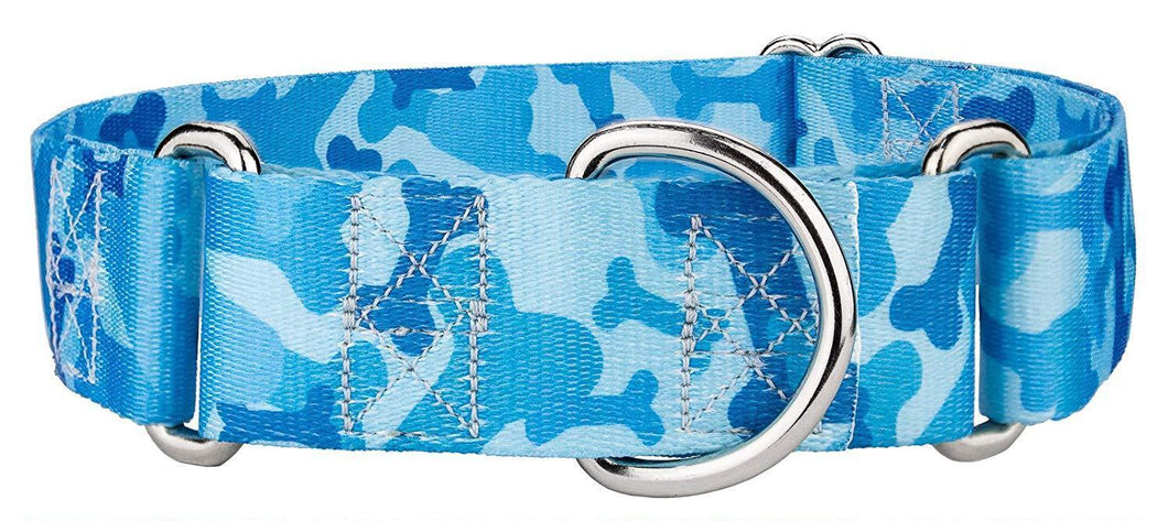 1.5 Inch Blue Bone Camo Martingale Collar for Greyhounds
