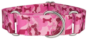 1.5 Inch Pink Bone Camo Martingale Collar for Greyhounds