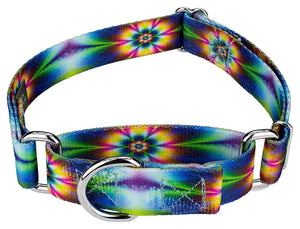 1.5 Inch Tie Dye Flowers Martingale Collar for Greyhounds
