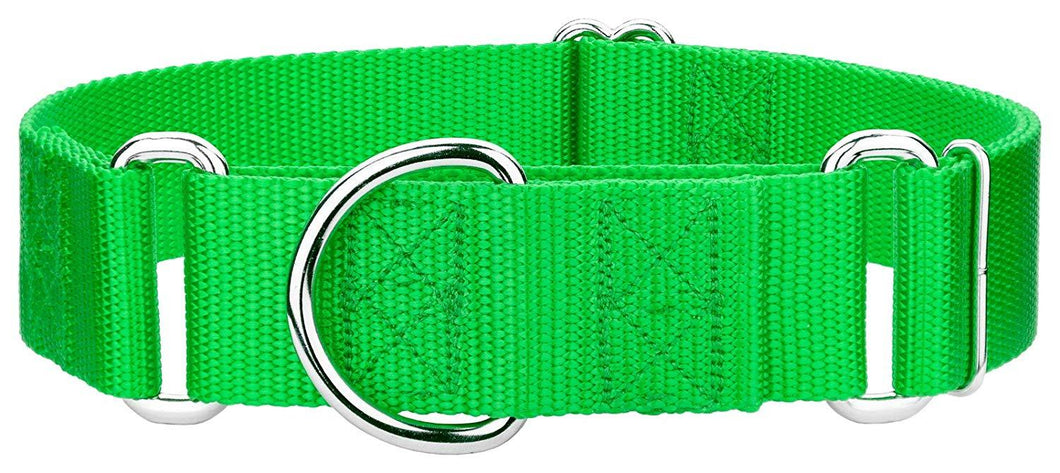 1.5 Inch Heavyduty Nylon Martingale Collar for Greyhounds - Hot Lime Green