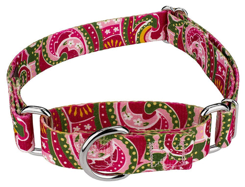 1.5 Inch Pink Paisley Martingale Collar for Greyhounds