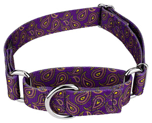 1.5 Inch Purple Paisley Martingale Collar for Greyhounds