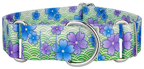 1.5 Inch Blue April Blossoms Martingale Collar for Greyhounds
