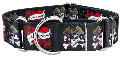 1.5 Inch I Love Mom Martingale Collar for Greyhounds