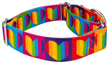 Load image into Gallery viewer, 1.5 Inch Rainbow Hearts Martingale Collar for Greyhounds
