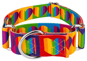 1.5 Inch Rainbow Hearts Martingale Collar for Greyhounds