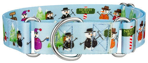 1.5 Inch Snowman Party Martingale Collar for Greyhounds