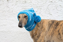 Load image into Gallery viewer, Hand-Knitted Greyhound Hat with Tassel - Blue & White