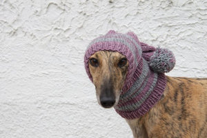 Hand-Knitted Greyhound Hat with Tassel - Purple & Grey