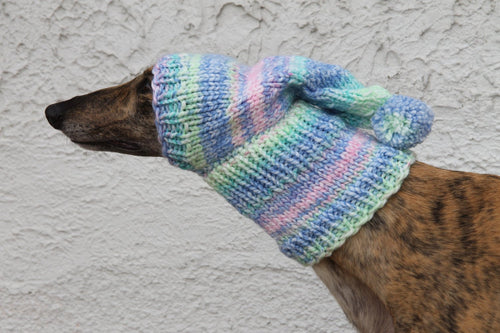 Hand-Knitted Greyhound Hat with Tassel - Pastel Rainbow