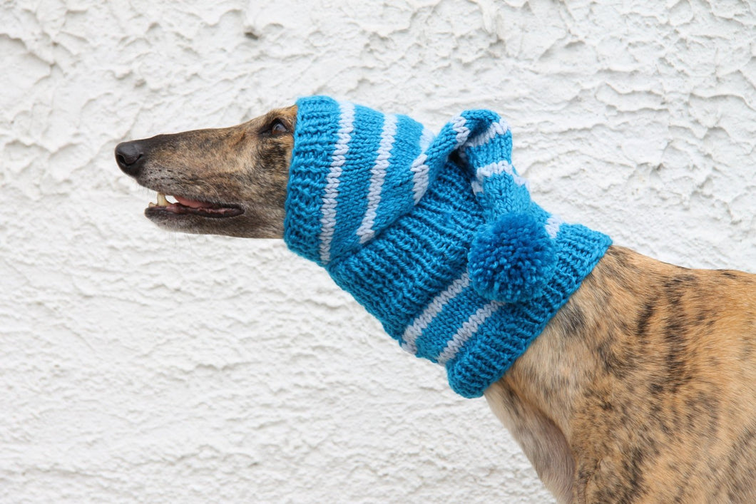 Hand-Knitted Greyhound Hat with Tassel - Blue & White