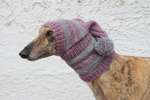 Load image into Gallery viewer, Hand-Knitted Greyhound Hat with Tassel - Purple & Grey