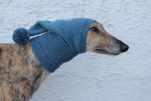 Hand-Knitted Greyhound Hat with Tassel - Teal
