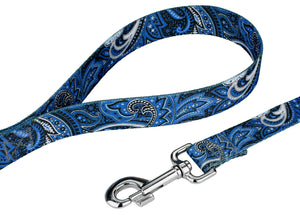 Blue Paisley Leash for Greyhounds