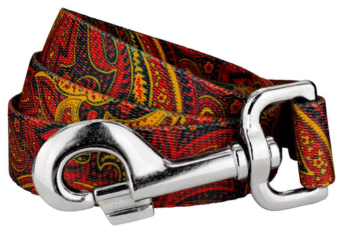 Fire Paisley Leash for Greyhounds