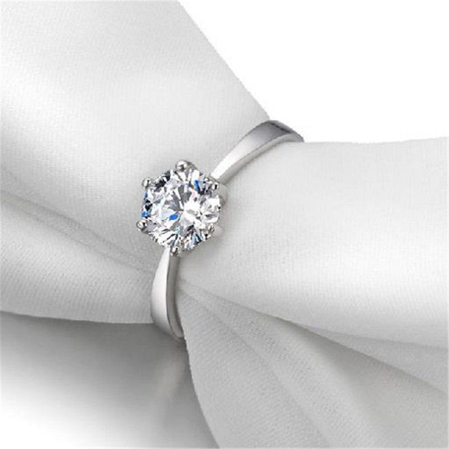 Zirconia S925 Sterling Silver Romantic Wedding Ring Cubic