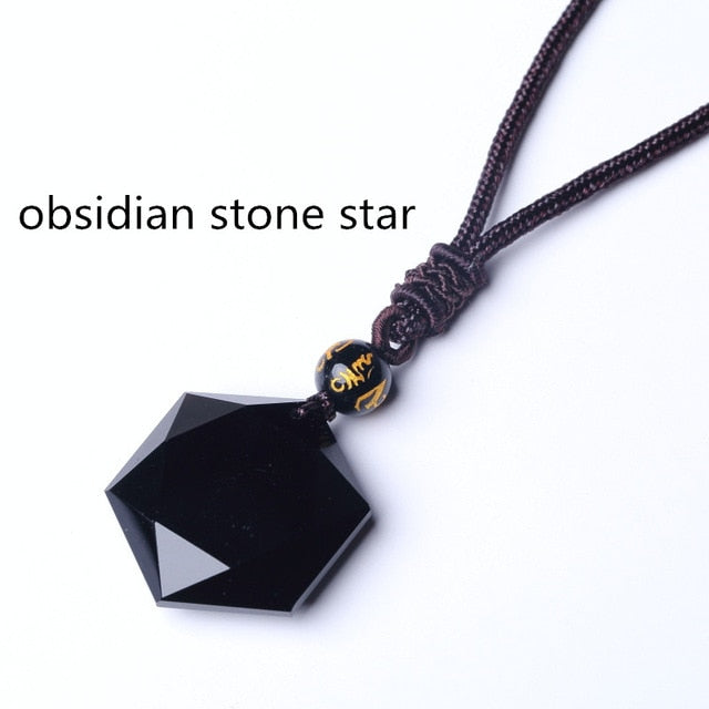 Black  Six Awn Star Pendant Necklace