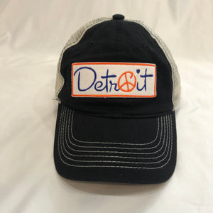 Black Embroidered Peace Detroit distressed trucker hat